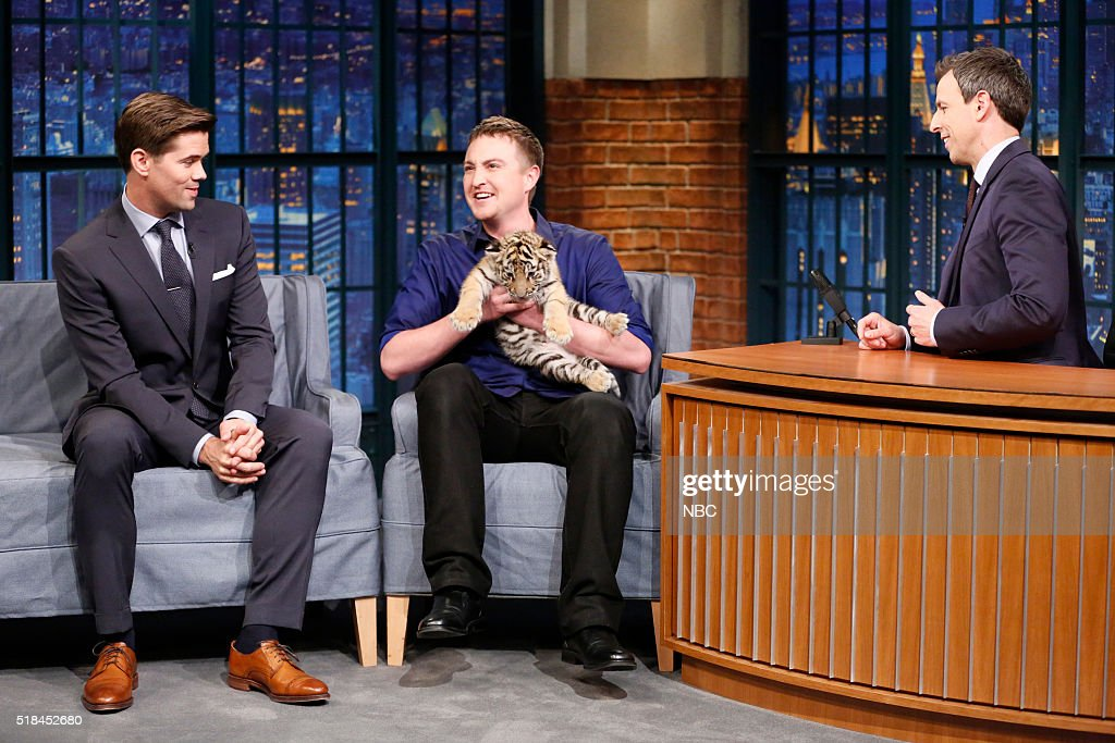 Actor Andrew Rannells, wildlife expert Corbin Maxey during an interview with host Seth Meyers on March 31, 2016 --