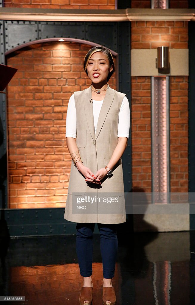 Music Cordinator Yeji Cha Beach during the 'Crew Poetry' sketch on March 31, 2016 --