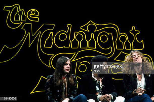SPECIAL Episode 35 Aired 5/23/75 Pictured Phil May of the band Pretty Things Disc Jockey JJ Jackson and Robert Plant of Led Zepplin