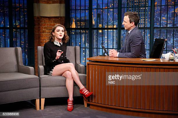 Actress Maisie Williams during an interview with host Seth Meyers on April 13 2016