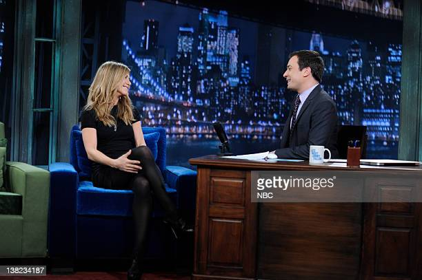 FALLON Episode 36 Airdate Pictured Actress Jennifer Aniston during an interview with Jimmy Fallon on May 4 2009