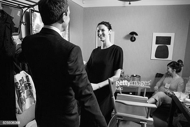MEYERS Episode 360 Pictured Host Seth Meyers talks with actress Caitriona Balfe backstage on April 27 2016