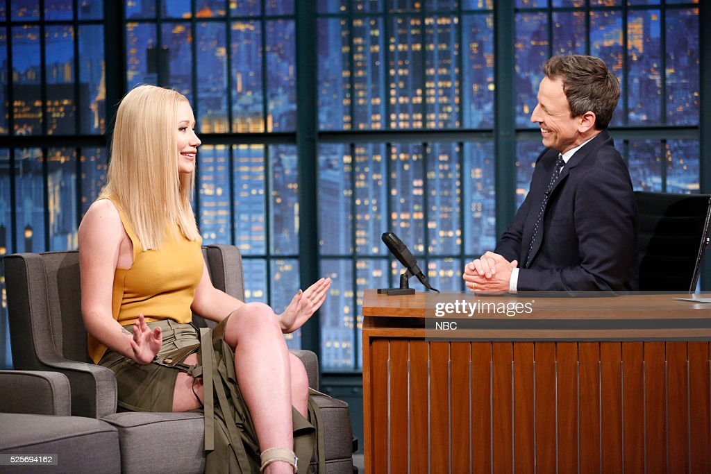 Musical guest Iggy Azalea during an interview with host Seth Meyers on April 28, 2016 --