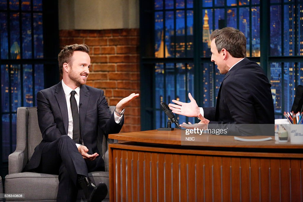 Actor Aaron Paul during an interview with host Seth Meyers on May 4, 2016 --