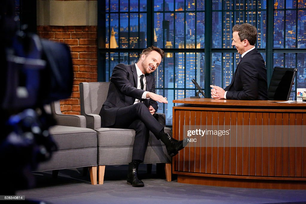Actor <a gi-track='captionPersonalityLinkClicked' href=/galleries/search?phrase=Aaron+Paul&family=editorial&specificpeople=693211 ng-click='$event.stopPropagation()'>Aaron Paul</a> during an interview with host <a gi-track='captionPersonalityLinkClicked' href=/galleries/search?phrase=Seth+Meyers&family=editorial&specificpeople=618859 ng-click='$event.stopPropagation()'>Seth Meyers</a> on May 4, 2016 --