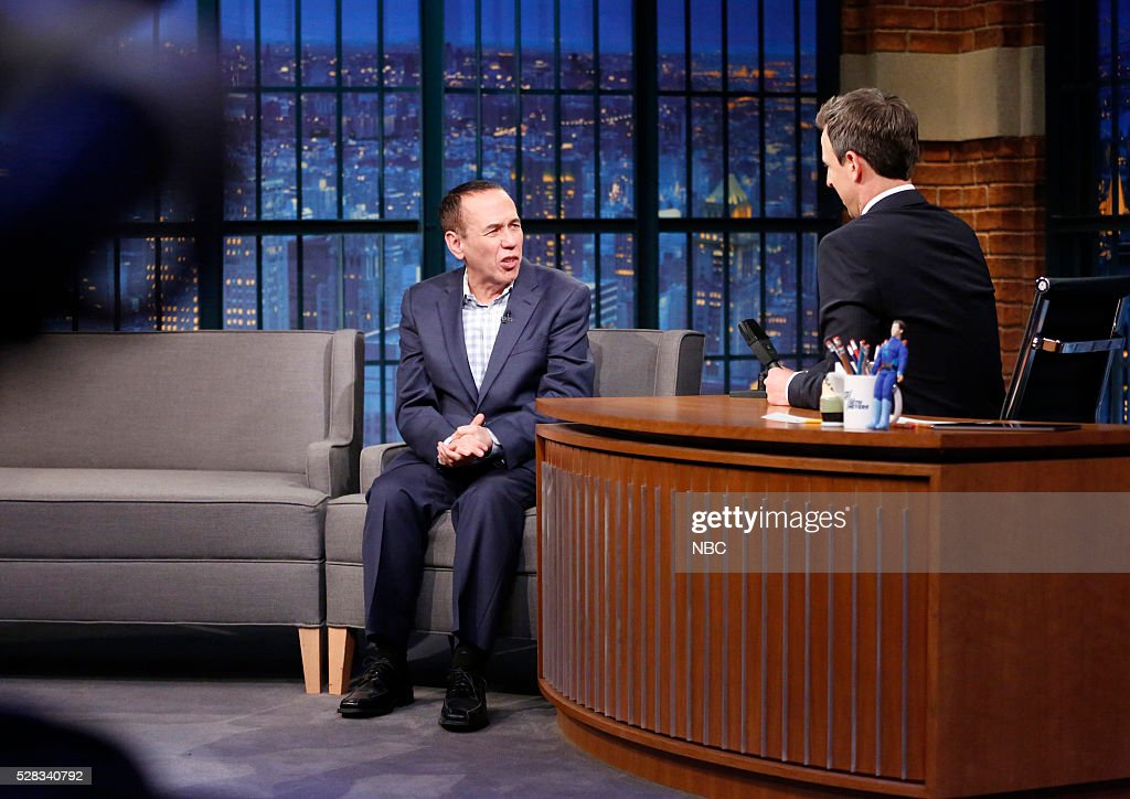Comedian Gilbert Gottfried during an interview with host Seth Meyers on May 4, 2016 --