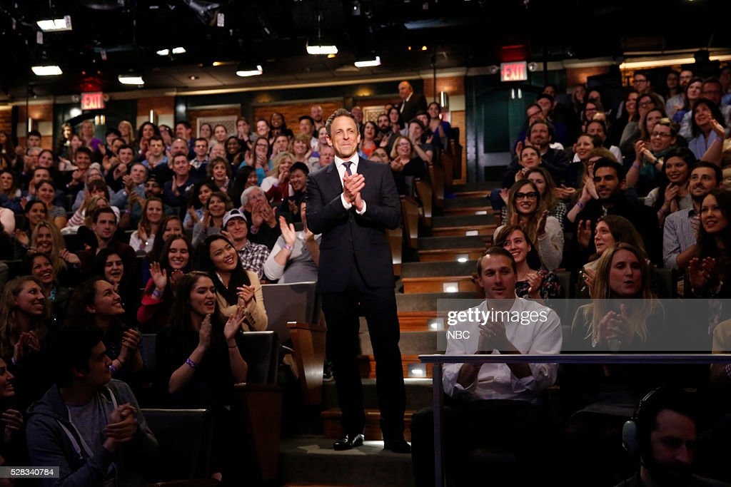 Host <a gi-track='captionPersonalityLinkClicked' href=/galleries/search?phrase=Seth+Meyers&family=editorial&specificpeople=618859 ng-click='$event.stopPropagation()'>Seth Meyers</a> with the studio audience on May 4, 2016 --