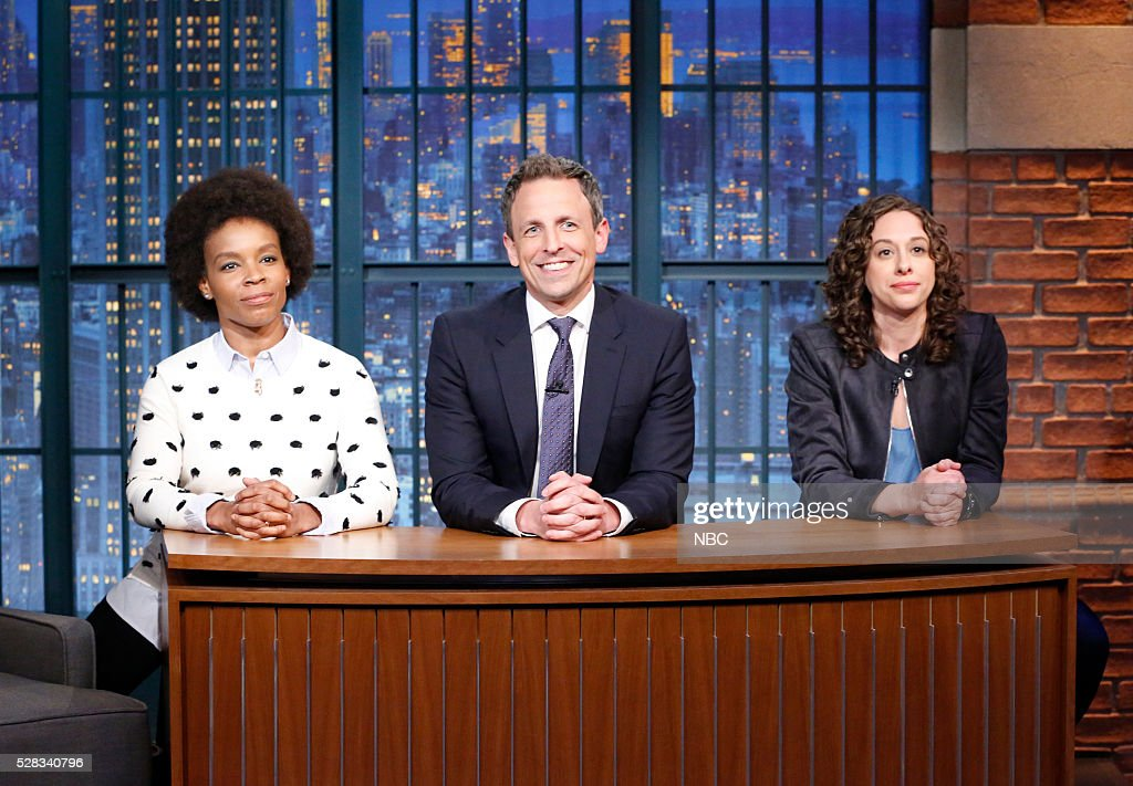 Writer Amber Ruffin, host <a gi-track='captionPersonalityLinkClicked' href=/galleries/search?phrase=Seth+Meyers&family=editorial&specificpeople=618859 ng-click='$event.stopPropagation()'>Seth Meyers</a>, writer Jenny Hagel play themselves in the sketch 'Jokes seth Can't Tell' on May 4, 2016 --