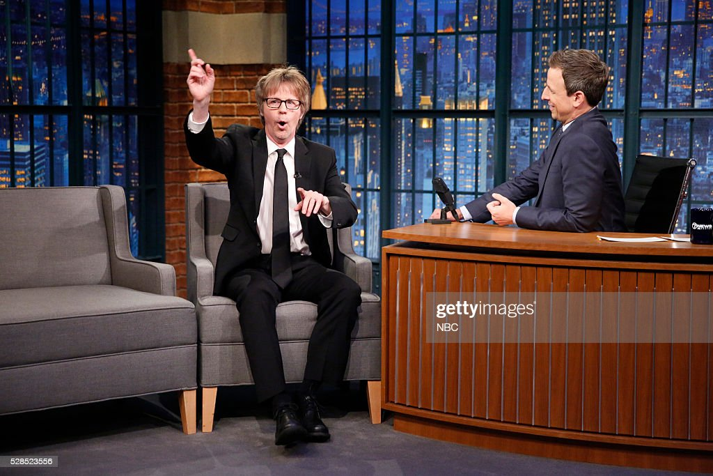 Comedian <a gi-track='captionPersonalityLinkClicked' href=/galleries/search?phrase=Dana+Carvey&family=editorial&specificpeople=220372 ng-click='$event.stopPropagation()'>Dana Carvey</a> during an interview with host <a gi-track='captionPersonalityLinkClicked' href=/galleries/search?phrase=Seth+Meyers&family=editorial&specificpeople=618859 ng-click='$event.stopPropagation()'>Seth Meyers</a> on May 5, 2016 --