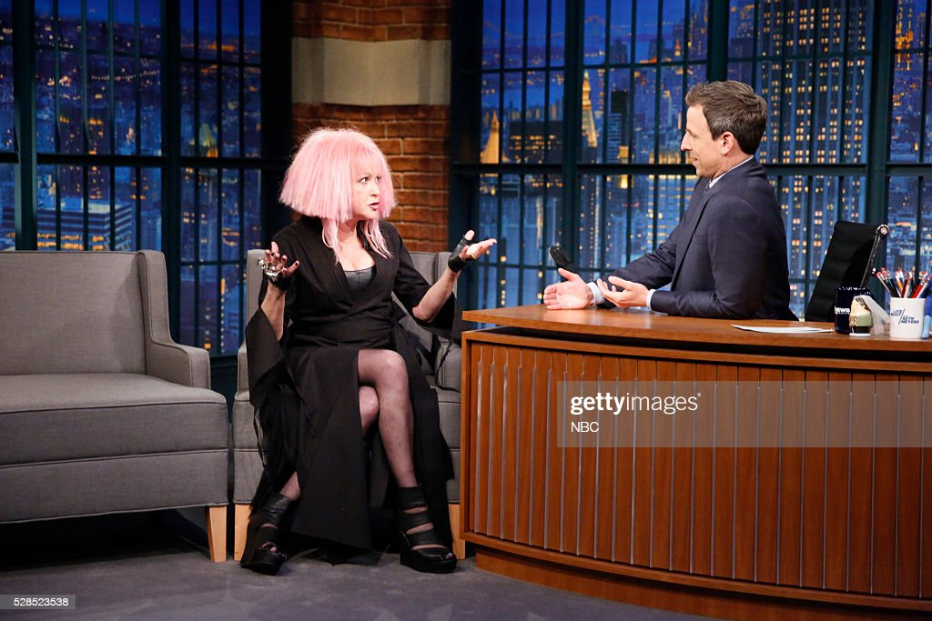 Musical guest <a gi-track='captionPersonalityLinkClicked' href=/galleries/search?phrase=Cyndi+Lauper&family=editorial&specificpeople=171290 ng-click='$event.stopPropagation()'>Cyndi Lauper</a> during an interview with host <a gi-track='captionPersonalityLinkClicked' href=/galleries/search?phrase=Seth+Meyers&family=editorial&specificpeople=618859 ng-click='$event.stopPropagation()'>Seth Meyers</a> on May 5, 2016 --
