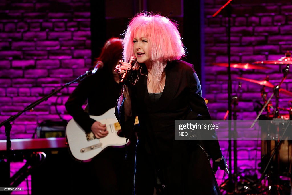 Musical guest <a gi-track='captionPersonalityLinkClicked' href=/galleries/search?phrase=Cyndi+Lauper&family=editorial&specificpeople=171290 ng-click='$event.stopPropagation()'>Cyndi Lauper</a> performs on May 5, 2016 --