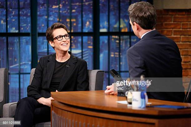 Political commentator Rachel Maddow during an interview with host Seth Meyers on May 12 2016