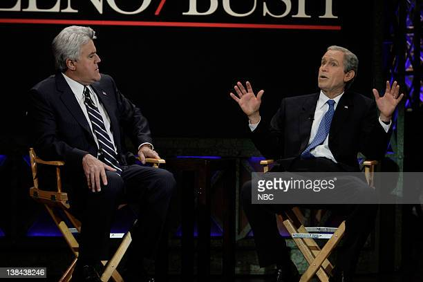 LENO Episode 3696 Air Date Pictured Host Jay Leno Brent Mendenhall as President George W Bush during Leno/Bush interview on January 22 2009