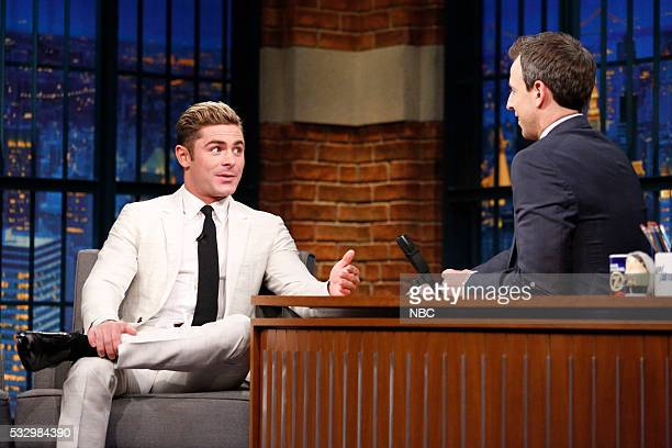 Actor Zac Efron during an interview with host Seth Meyers on May 19 2016