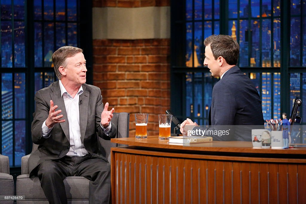 Governor <a gi-track='captionPersonalityLinkClicked' href=/galleries/search?phrase=John+Hickenlooper&family=editorial&specificpeople=4104050 ng-click='$event.stopPropagation()'>John Hickenlooper</a> during an interview with host <a gi-track='captionPersonalityLinkClicked' href=/galleries/search?phrase=Seth+Meyers&family=editorial&specificpeople=618859 ng-click='$event.stopPropagation()'>Seth Meyers</a> on May 23, 2016 --
