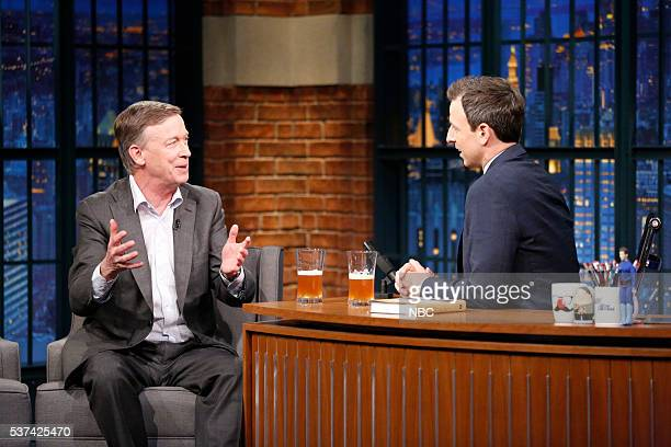 Governor John Hickenlooper during an interview with host Seth Meyers on May 23 2016