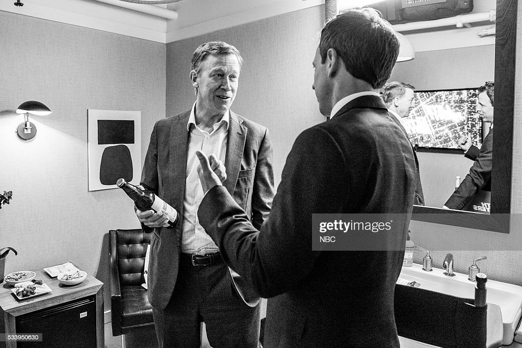 MEYERS -- (EXCLUSIVE COVERAGE) -- Episode 374 -- Pictured: (l-r) Governor <a gi-track='captionPersonalityLinkClicked' href=/galleries/search?phrase=John+Hickenlooper&family=editorial&specificpeople=4104050 ng-click='$event.stopPropagation()'>John Hickenlooper</a> talks with host Seth Meyers backstage on May 23, 2016 --