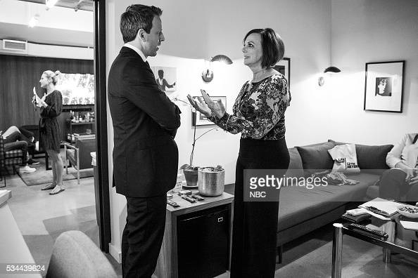 MEYERS Episode 376 Pictured Host Seth Meyers talks with former OJ Simpson case prosecutor Marcia Clark backstage on May 25 2016