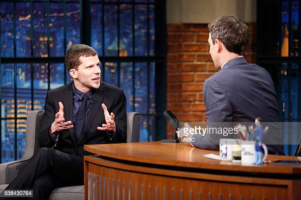 Actor Jesse Eisenberg during an interview with host Seth Meyers on June 6 2016