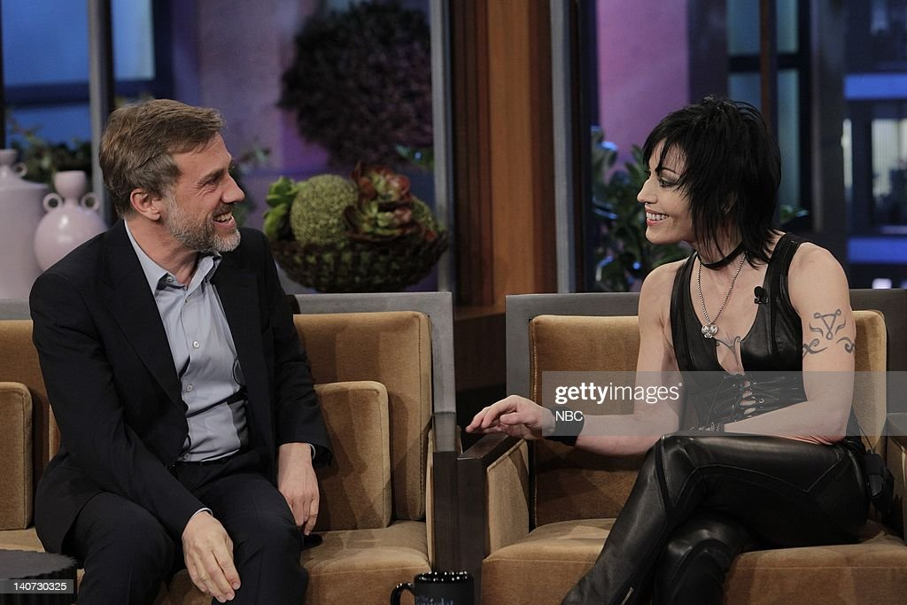 Actor <a gi-track='captionPersonalityLinkClicked' href=/galleries/search?phrase=Christoph+Waltz&family=editorial&specificpeople=4276914 ng-click='$event.stopPropagation()'>Christoph Waltz</a> and musical guest Joan Jett talk on March 9, 2010 -- Photo by: Paul Drinkwater/NBCU Photo Bank