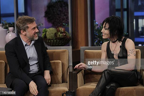 Actor Christoph Waltz and musical guest Joan Jett talk on March 9 2010 Photo by Paul Drinkwater/NBCU Photo Bank