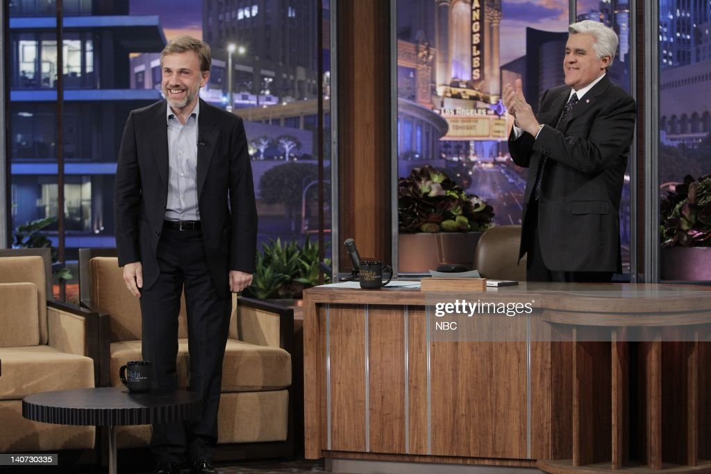 Actor <a gi-track='captionPersonalityLinkClicked' href=/galleries/search?phrase=Christoph+Waltz&family=editorial&specificpeople=4276914 ng-click='$event.stopPropagation()'>Christoph Waltz</a> during an interview with host <a gi-track='captionPersonalityLinkClicked' href=/galleries/search?phrase=Jay+Leno+-+Pr%C3%A9sentateur+t%C3%A9l%C3%A9&family=editorial&specificpeople=156431 ng-click='$event.stopPropagation()'>Jay Leno</a> on March 9, 2010 -- Photo by: Paul Drinkwater/NBCU Photo Bank