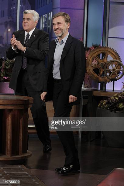 Host Jay Leno greets actor Christoph Waltz on March 9 2010 Photo by Paul Drinkwater/NBCU Photo Bank