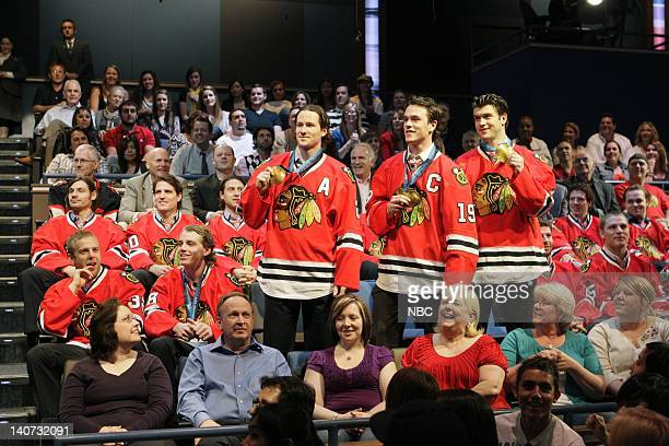 Chicago Blackhawks Patrick Kane Jonathan Taves Duncan Kieth and Brent Seabrook show off their Olympic medals on March 16 2010 Photo by Paul...