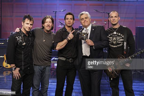 Muscal guests Creed BrianMarshall Scott Phillips Scott Stapp host Jay Leno Mark Tremonti onstage April 23 2010 Photo by Paul Drinkwater/NBCU Photo...