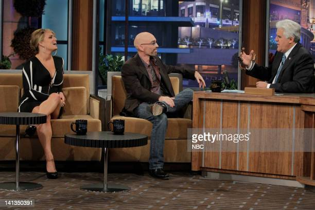 Singer/television personality Jessica Simpson actor Jackie Earle Haley during an interview with host Jay Leno on April 27 2010 Photo by Margaret...