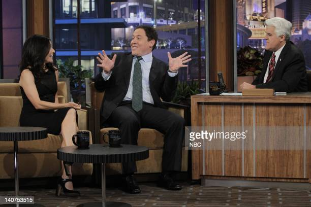 Actress Julia LouisDreyfus actor/director Jon Favreau during an interview with host Jay Leno on May 3 2010 Photo by Margaret Norton/NBCU Photo Bank