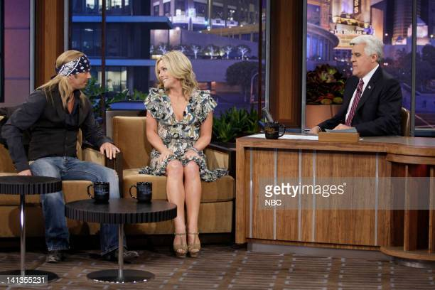 Singer Bret Michaels and actress Jane Krakowski during an interview with host Jay Leno on May 25 2010 Photo by Paul Drinkwater/NBCU Photo Bank