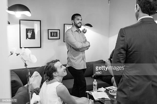 Producer/director Ezra Edelman with host Seth Meyers backstage on June 15 2016