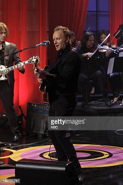 Musical guest Sting performs on June 8 2010 Photo by Paul Drinkwater/NBCU Photo Bank