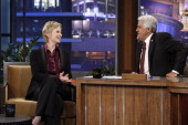 Actress Jane Lynch during an interview with host Jay Leno on July 8 2010 Photo by Stacie McChesney/NBCU Photo Bank