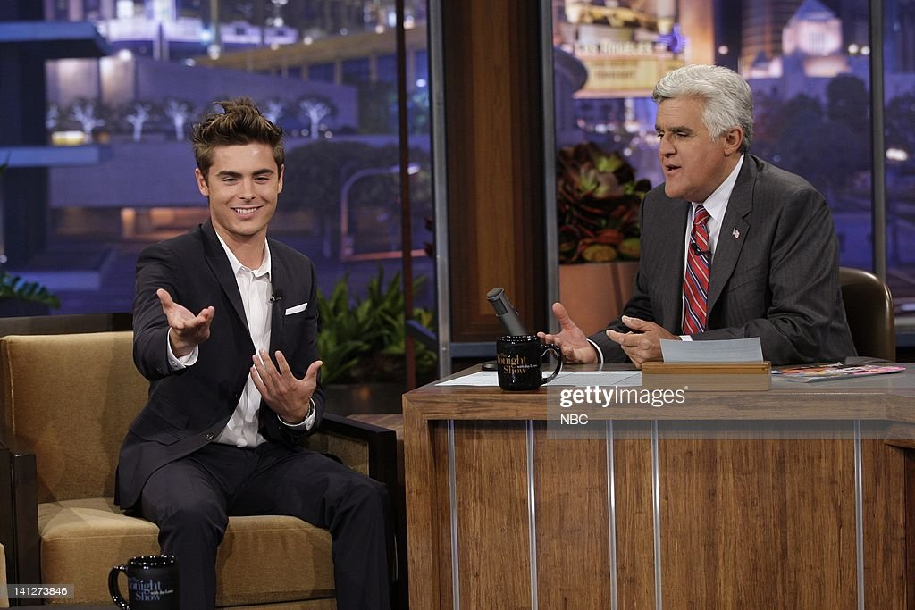 Actor Zac Efron during an interview with host Jay Leno on July 20 2010 Photo by Paul Drinkwater/NBCU Photo Bank