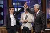 Mentalist Lior Suchard performs an illusion on actor Zac Efron during an interview with host Jay Leno on July 20 2010 Photo by Paul Drinkwater/NBCU...