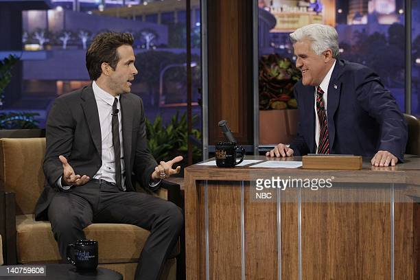 Actor Ryan Reynolds during an interview with host Jay Leno on September 22 2010 Photo by Paul Drinkwater/NBC/NBCU Photo Bank