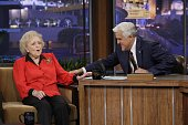 Actress Betty White during an interview with host Jay Leno on September 22 2010 Photo by Paul Drinkwater/NBC/NBCU Photo Bank