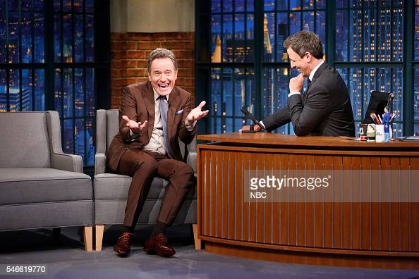 Actor Bryan Cranston during an interview with host Seth Meyers on July 12 2016