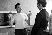 MEYERS Episode 391 Pictured Actor Bryan Cranston talks with host Seth Meyers backstage on July 12 2016