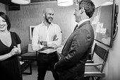 MEYERS Episode 396 Pictured Comedian KeeganMichael Key talks with host Seth Meyers backstage on July 20 2016