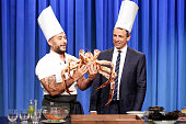 Chef Carlo Mirarchi during a cooking demonstration with host Seth Meyers on July 21 2016