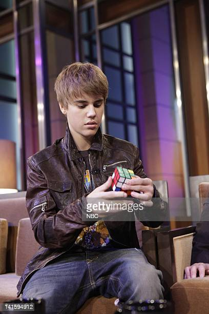 LENO Episode 3978 Pictured Singer Justin Bieber during a commercial break on January 28 2011 Photo by Paul Drinkwater/NBC/NBCU Photo Bank