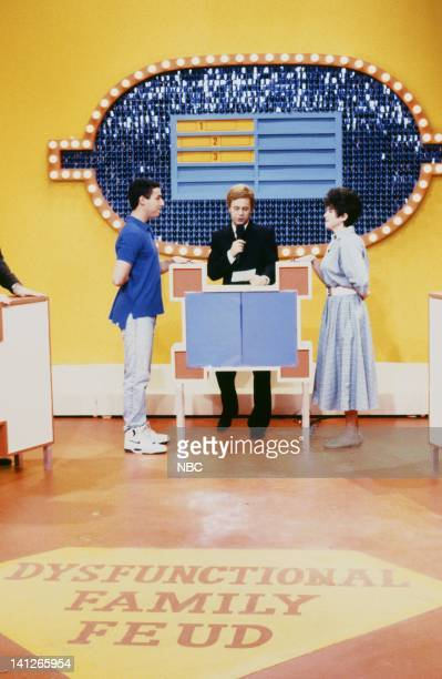Adam Sandler as Gary Riley Dana Carvey as Ray Combs Julia Sweeney as Rebecca Thorton during the 'Dysfunctional Family Feud' skit on October 26 1991...
