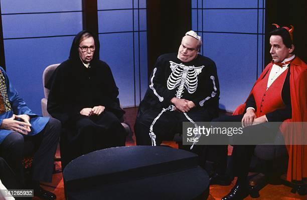 Dana Carvey as John McLaughlin Chris Farley as Jack Germond Phil Hartman as Pat Buchanan during the 'The McLaughlin Group' skit on October 26 1991...