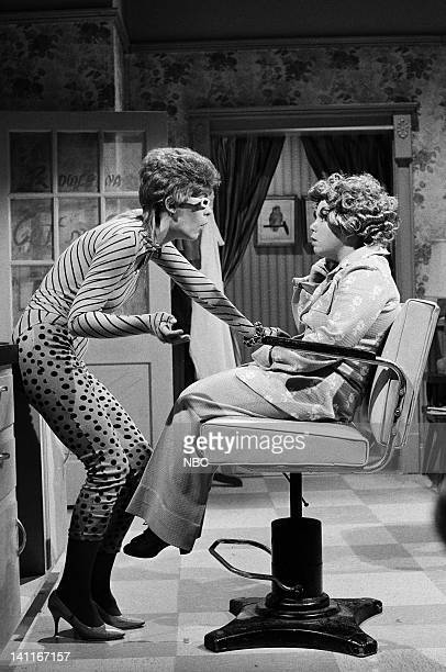 Jamie Lee Curtis as Sushi Raw Denny Dillon as Nadine during the 'Cut 'n' Curl' skit on December 13 1980 Photo by NBC/NBCU Photo Bank