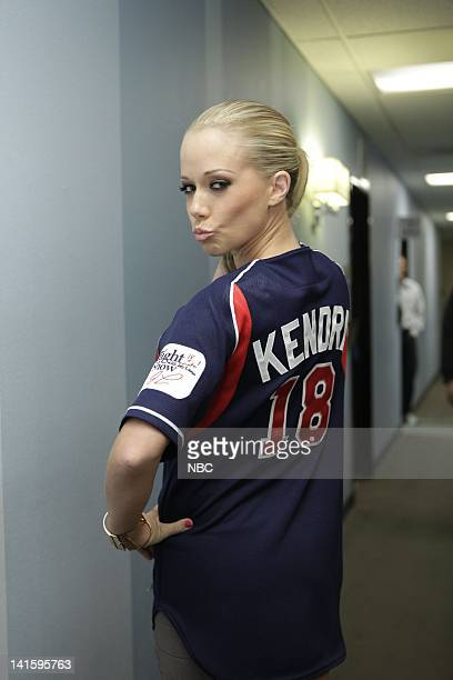 LENO Episode 4026 Pictured Model Kendra Wilkinson sporting a Tonight Show baseball jersey backstage on April 14 2011 Photo by Stacie...