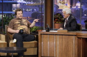 Actor Jack Black during an interview with host Jay Leno on May 19 2011 Photo by Paul Drinkwater/NBC/NBCU Photo Bank