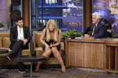 Dancer Maksim Chmerkovskiy actress Kirstie Alley during an interview with host Jay Leno on May 20 2011 Photo by Paul Drinkwater/NBC/NBCU Photo Bank